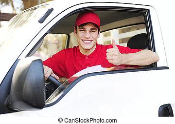 郵政, 搬運車, 拇指, 特快專遞, 顯示, 向上, 簽署, 交付, 手