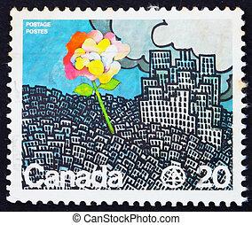 郵票, 加拿大, 1976, 花, 生長, 從, 城市