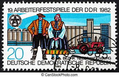 郵票, gdr, 1982, 傳統, 服裝