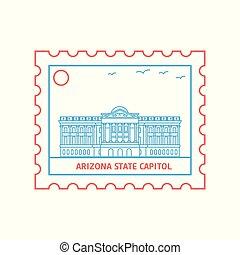 郵資, 藍色, 亞利桑那, 州議會大廈, 郵票, 插圖, 狀態, 矢量, 線, 紅色, 風格