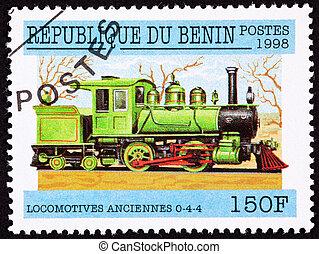 郵送料, エンジン, 古い, loc, 切手, キャンセルされた, 列車, 鉄道, 蒸気, benin