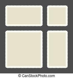 郵送料, セット, 暗い, バックグラウンド。, スタンプ, ベクトル, ブランク
