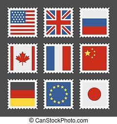 郵送料, 別, セット, 国, スタンプ, ベクトル, flags.