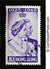 郵送料, 王, hong, エリザベス, bowes-lyon, 切手, 第6, 記念, -, 1948, kong, nniversary, 結婚式, ∥ころ∥, ジョージ, 銀