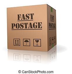 郵送料, 箱, ボール紙, 速い, パッケージ
