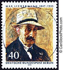 郵送料, 自画像, 切手, マックス, 1972, ドイツ, liebermann