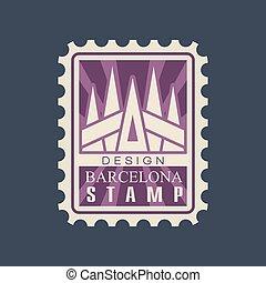 郵送料, 都市, sagrada, 平らなスタンプ, 紫色, バルセロナ, color., 有名, ベクトル, デザイン, familia., 建築である, landmark., 大聖堂, 長方形, 創造的, アイコン