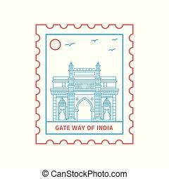郵送料, 青, 切手, インド, イラスト, ベクトル, 方法, 門, 線, 赤, スタイル