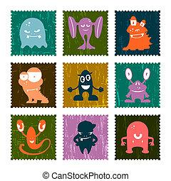郵送料, 面白い, セット, 切手, set., ベクトル, レトロ, monsters.