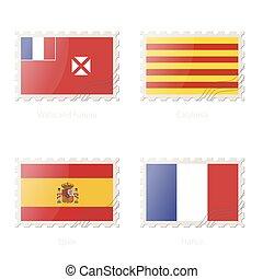 郵送料, futuna, 切手, flag., イメージ, フランス, wallis, カタロニア, スペイン