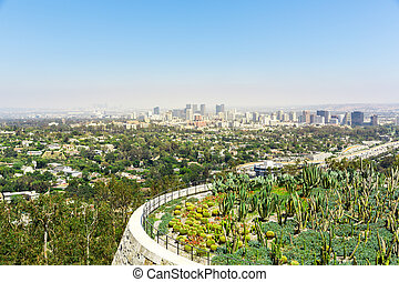 都市の景観, の, ロサンゼルスアーキテクチャ, ∥において∥, 日没