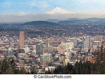 都市の景観, オレゴン, ダウンタウンに, mt フード, ポートランド