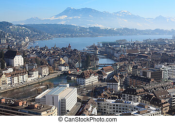 都市の景観, スイス, 冬, ルツェルン
