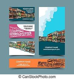 都市の景観, セット, カード