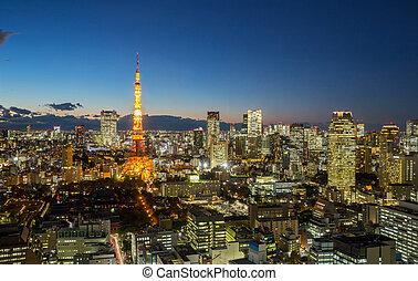 都市の景観, タワー, 東京, 夕闇