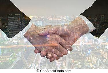 都市の景観, ダブル, ビジネス, 上に, さらされること, 握手
