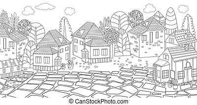 都市の景観, パノラマ, あなたの, 着色 本