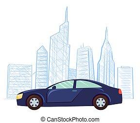 都市の景観, ベクトル, 図画, 自動車, 超高層ビル, スケッチ