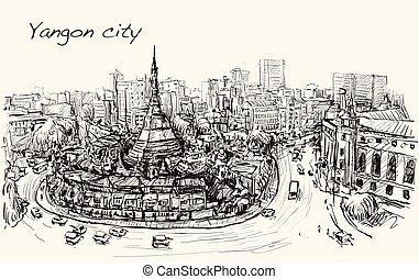 都市の景観, ベクトル, topview, ドロー, 無料で, shwedagon pagoda, 手, yangon...