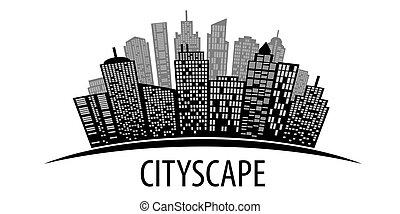 都市の景観, ベクトル, white., illustration.