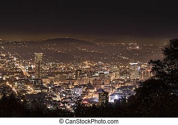 都市の景観, ポートランド, 夕方, アメリカ, オレゴン