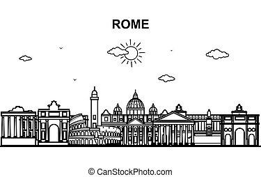 都市の景観, ローマ, 都市, 旅行, 線, スカイライン, アウトライン, イラスト