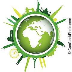 都市の景観, 世界, 緑の風景
