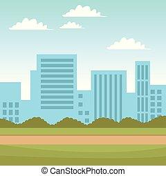 都市の景観, 光景, から, 公園