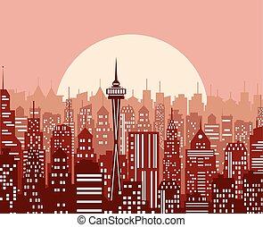 都市の景観, 夕方, illustration., ベクトル