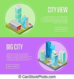 都市の景観, 旗, セット, 建築, 未来派