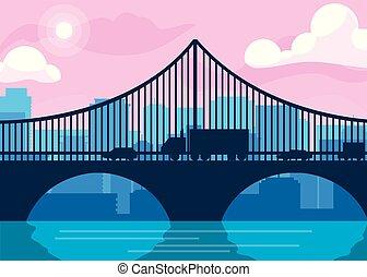 都市の景観, 橋, 建物, 現場