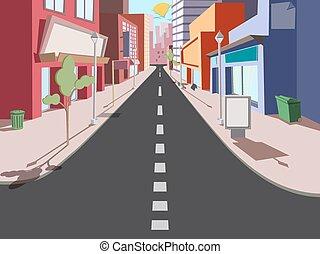 都市の景観, 漫画, 朝