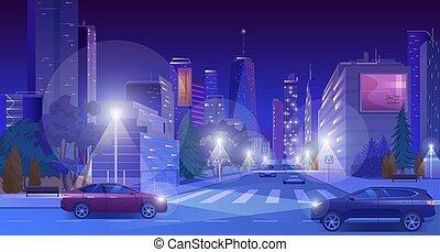 都市の景観, 漫画, 青, 未来派, 現代, 平ら, 道, 白熱, ベクトル, 超高層ビル, ネオン, ダウンタウンに, 都市ライト, イラスト, 夜, 照らされた, 自動車, 通り