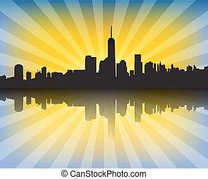 都市の景観, 現代, 日没, 反射, sunrays