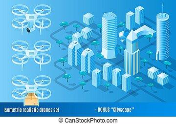 都市の景観, 現実的, プラス, セット, 無人機