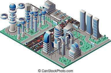 都市の景観, 等大, 未来派, テンプレート