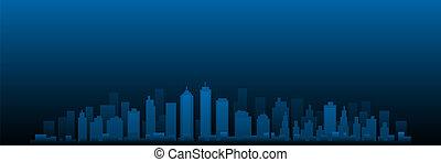 都市の景観, 都市 スカイライン, ベクトル, 夜