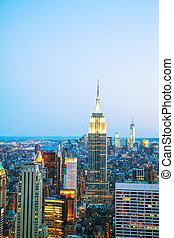 都市の景観, 都市, ヨーク, 新しい, 夜