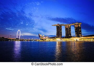 都市の景観, 都市, 日の出, シンガポール
