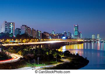 都市の景観, 韓国, ソウル, 南, 夜