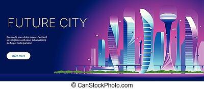 都市の景観, 01, 未来派, 夜