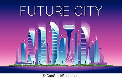 都市の景観, 02, 未来派, 夜