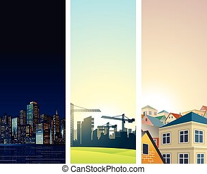 都市の景観, backgrounds.vertical, 旗, ベクトル