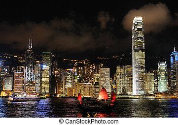 都市の景観, hong, 夜現場, kong