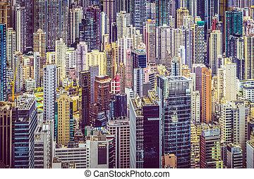 都市の景観, hong, 陶磁器, kong