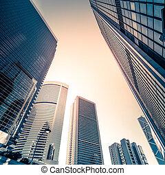 都市の景観, kong, skyscrapers., 未来派, hong