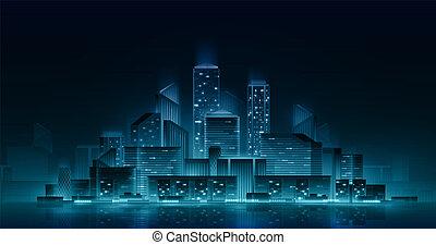 都市の景観, lights., ネオン, 夜
