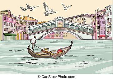 都市の景観, venecia, 壮大, ゴンドラ, canal., ビュー。