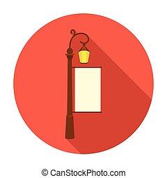 都市ライト, 広告板, アイコン, 中に, 平ら, スタイル, 隔離された, 白, バックグラウンド。, 広告, シンボル, 株, ベクトル, illustration.