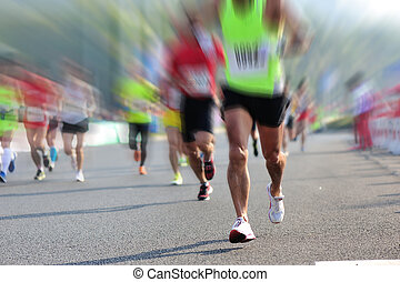 都市人々, レース, フィート, 動くこと, マラソン, 道